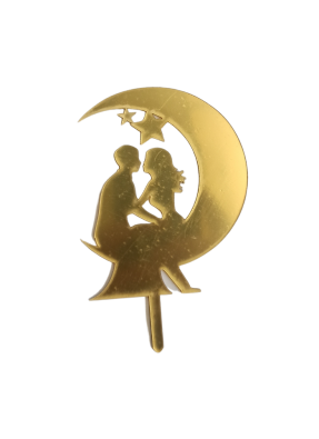 Moon Star Couple Golden Acrylic Topper 5 inch Pack of 1