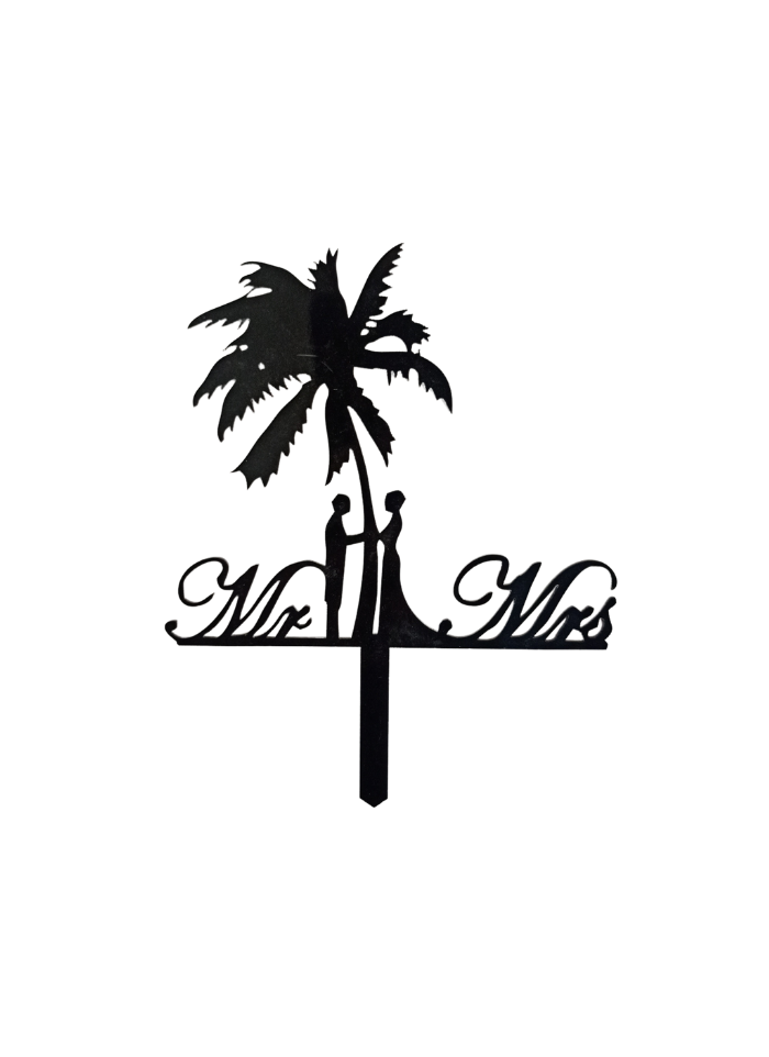 Mr And Mrs Palm Tree Black Acrylic Topper 5.5 inch Pack of 1