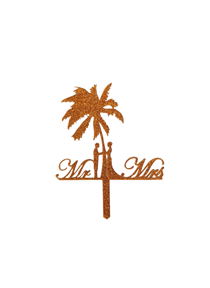 Mr And Mrs Palm Tree Glitter Gold Acrylic Topper 5.5 inch Pack of 1