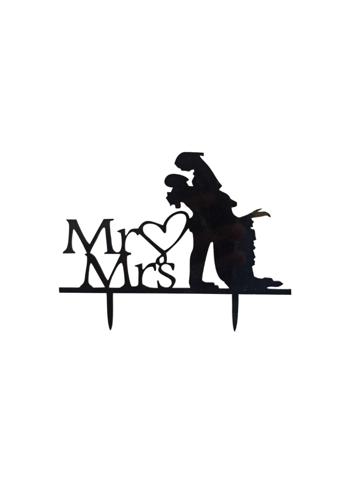 Mr And Mrs Romantic Black Acrylic Topper 4 inch Pack of 1