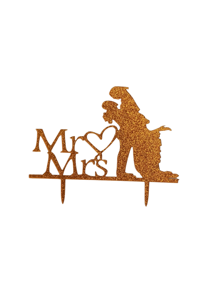 Mr And Mrs Romantic Glitter Gold Acrylic Topper 4 inch Pack of 1