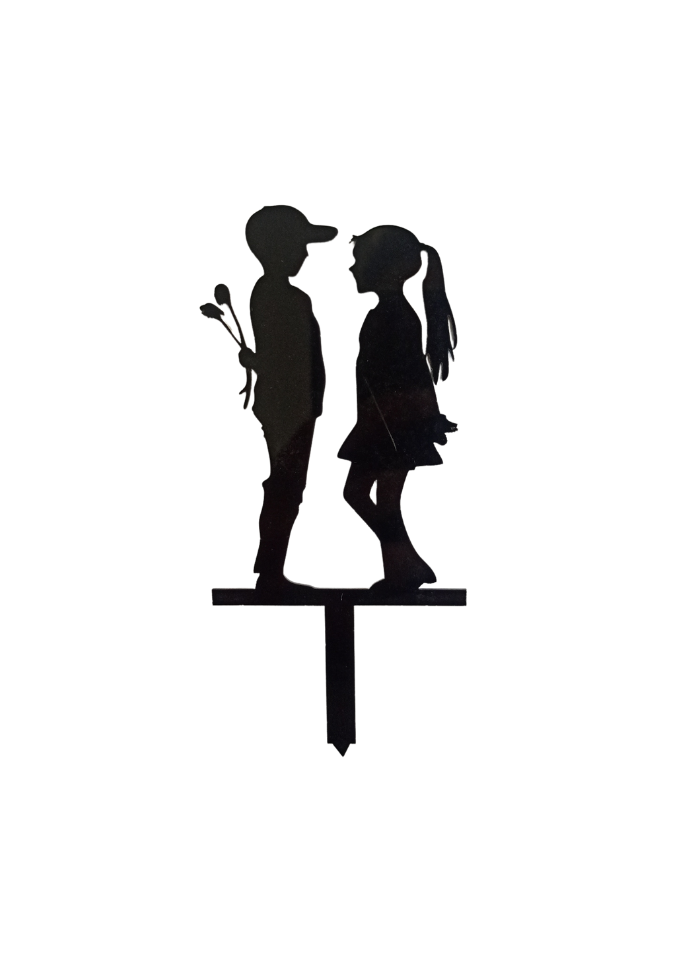 Proposing Couple Black Acrylic Topper 5 inch Pack of 1