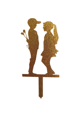 Proposing Couple Glitter Gold Acrylic Topper 5 inch Pack of 1