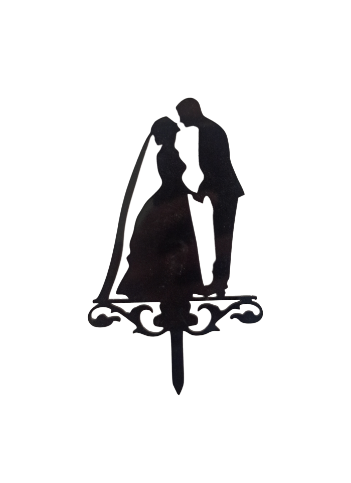Romantic Bride And Groom Black Acrylic Topper 5.5 inch Pack of 1