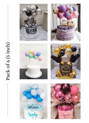 Cake topper balloon bunch 6 pieces of different colors 5 inch pack of 1