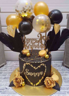Cake topper balloon bunch Black gold 5 inch pack of 1