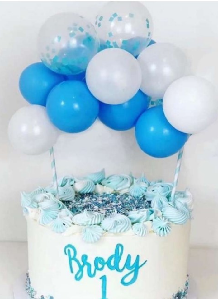 Cake topper balloon bunch Blue white 5 inch pack of 1