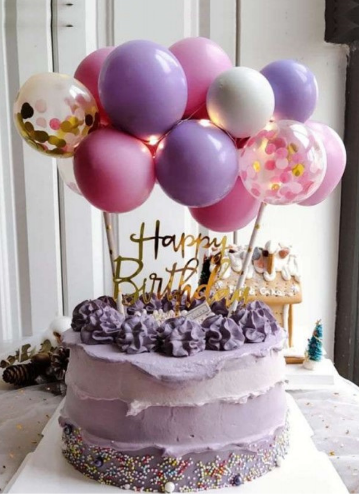 Cake topper balloon bunch Purple pink 5 inch pack of 1