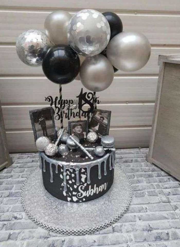 Cake topper balloon bunch Silver black 5 inch pack of 1