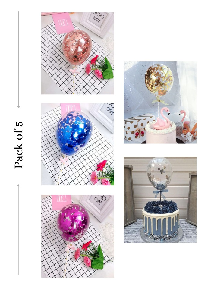 Confetti Balloon Cake Topper 5 colors pack of 5