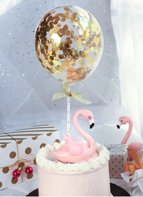Confetti Balloon Cake Topper Gold pack of 1