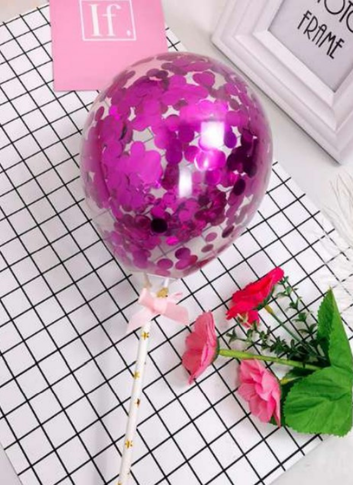 Confetti Balloon Cake Topper Pink pack of 1