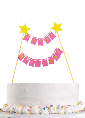Happy birthday cake bunting banner type cake topper pink pack of 1