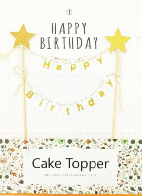 Happy birthday cake bunting banner type cake topper white pack of 1