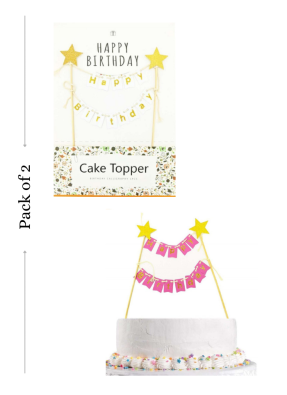 Happy birthday cake bunting banner type cake topper 2 Pieces pack of 1