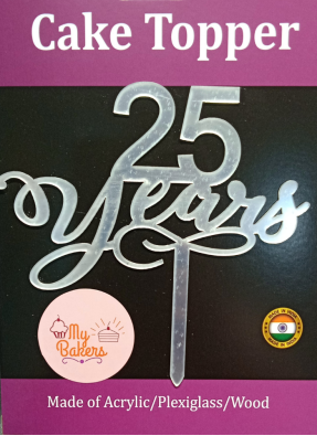 25th Years Silver Acrylic Topper 6 inch Pack of 1