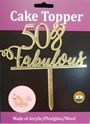 50 And Fabulous Gold Mirror Acrylic Topper 6 inch Pack of 1