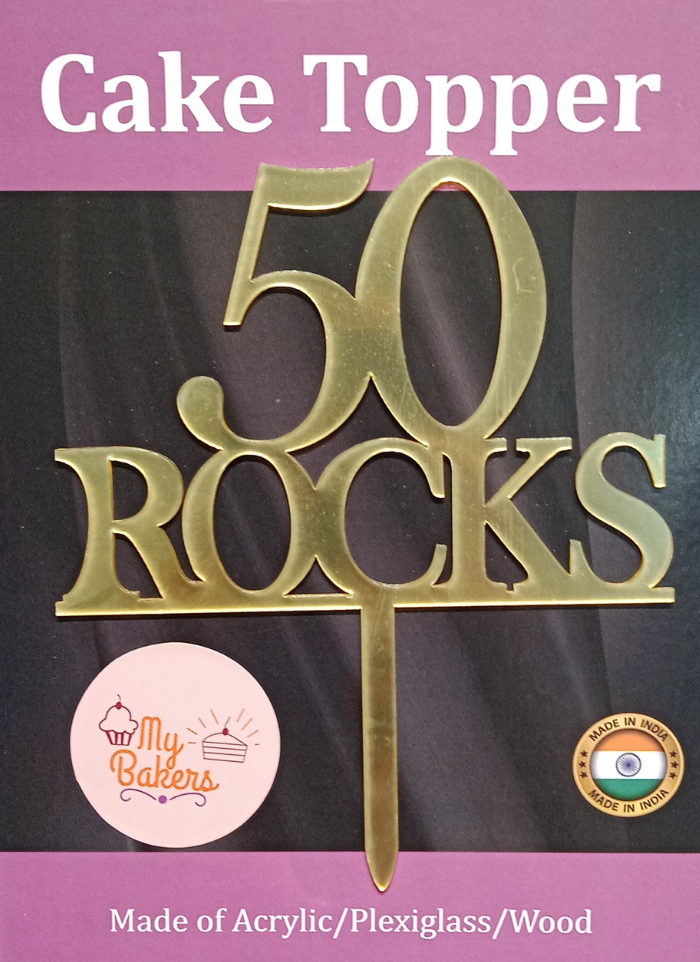 50 Rocks Gold Mirror Acrylic Topper 6 inch Pack of 1