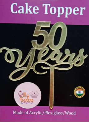 50 Years Gold Mirror Acrylic Topper 6 inch Pack of 1