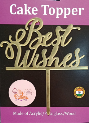 Best Wishes Gold Mirror Acrylic Topper 6 inch Pack of 1
