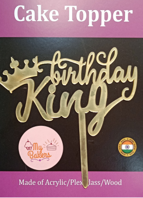 Birthday King Gold Mirror Acrylic Topper 6 inch Pack of 1