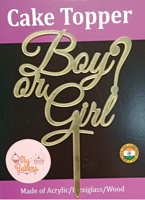 Boy or Girl Gold Mirror Acrylic Topper 6 inch Pack of 1