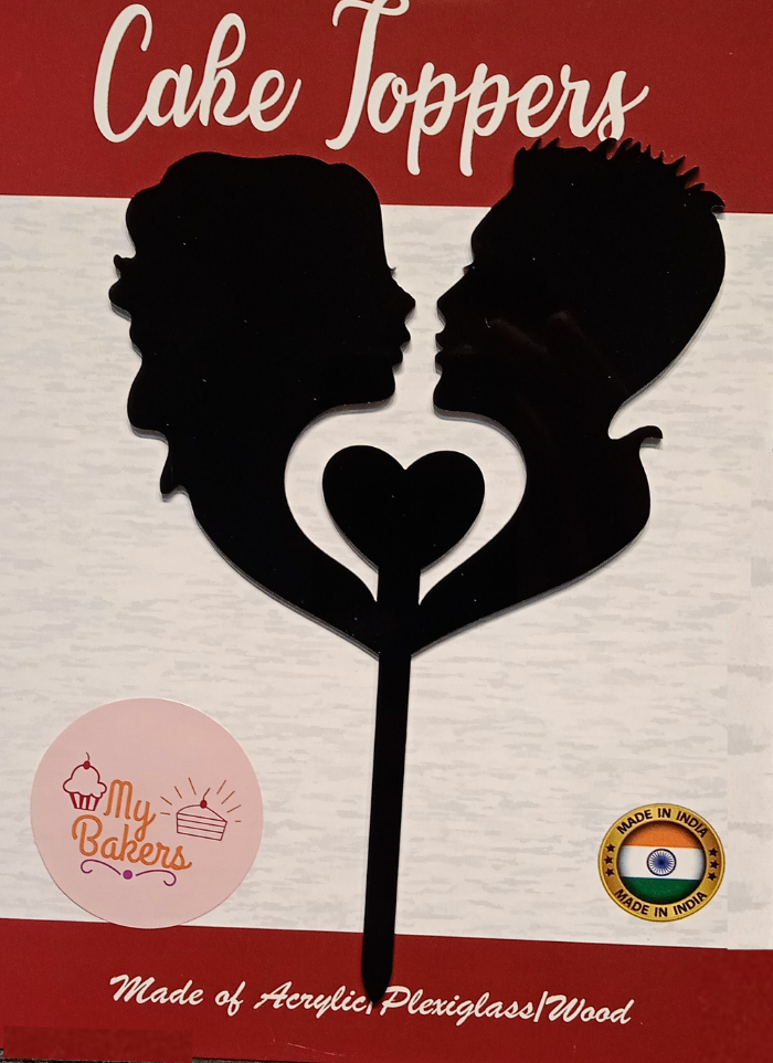 Bride And Groom Kissing Face Black Acrylic Topper 6 inch Pack of 1