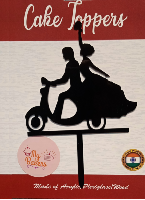 Bride And Groom On Scooter Black Acrylic Topper 6 inch Pack of 1