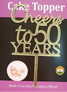 Cheers To 50 Years Golden Acrylic Topper 6 inch Pack of 1