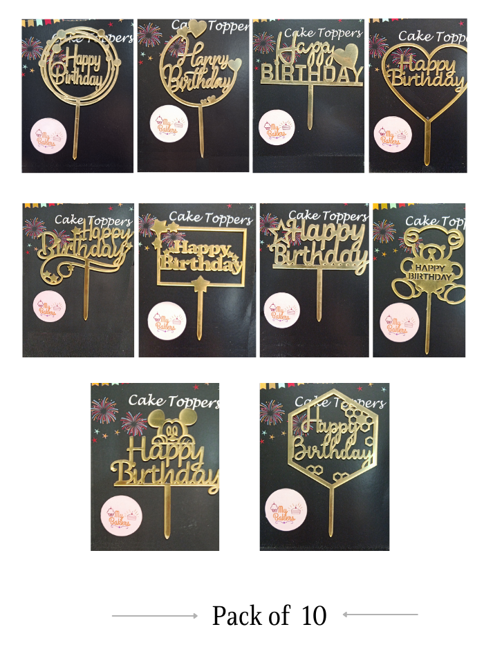 Happy Birthday Combo Gold Mirror Acrylic Topper 5 inch Pack of 10