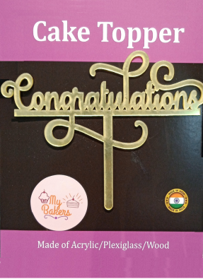 Congratulations Gold Mirror Acrylic Topper 6 inch Pack of 1
