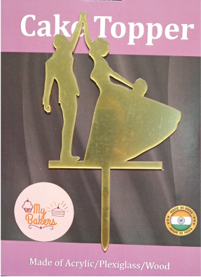 Couple Dancing Gold Mirror Acrylic Topper 6 inch Pack of 1