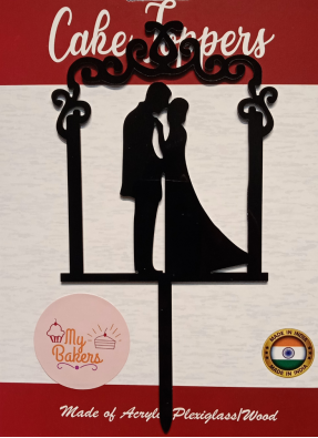 Couple Frame Black Acrylic Topper 6 inch Pack of 1