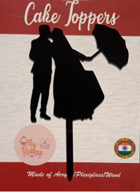 Couple Kissing Out Umbrella Black Acrylic Topper 6 inch Pack of 1
