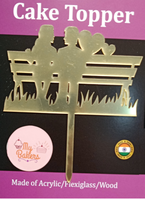 Couple On Bench Golden Acrylic Topper 6 inch Pack of 1