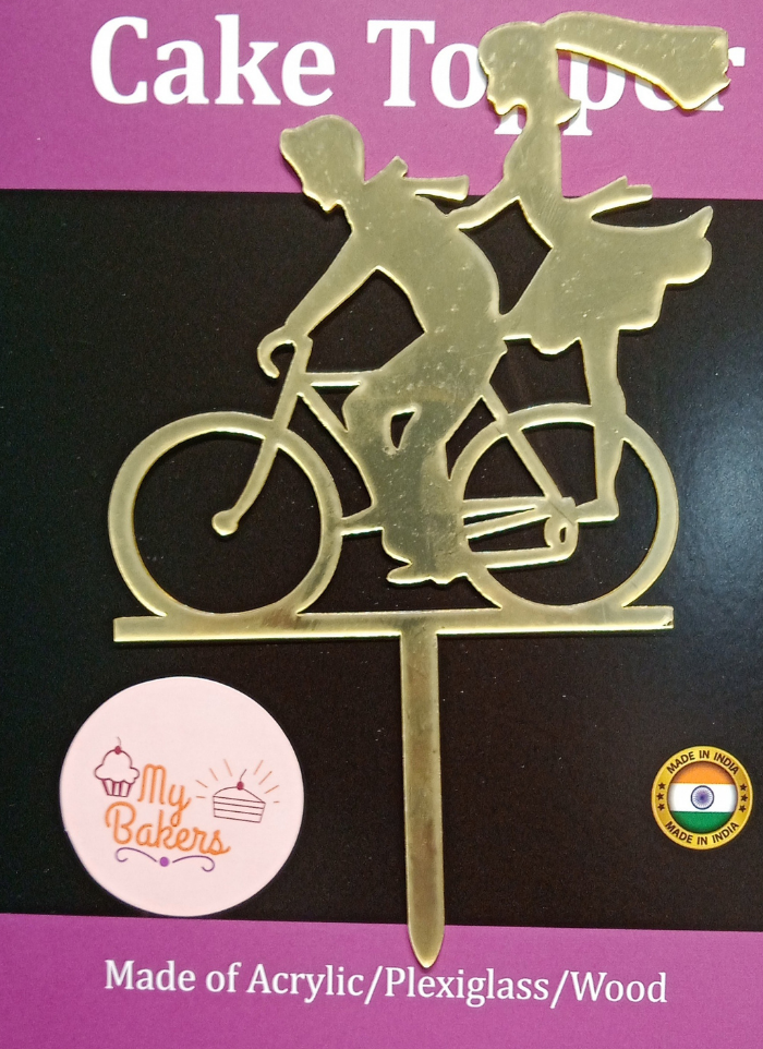 Couple On Bicycle Golden Acrylic Topper 6 inch Pack of 1