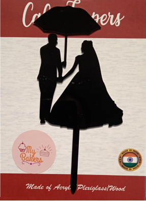Couple Umbrella Black Acrylic Topper 6 inch Pack of 1