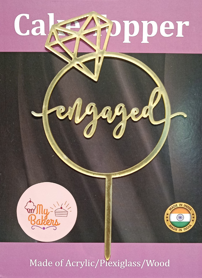 Engaged Gold Mirror Acrylic Topper 6 inch Pack of 1