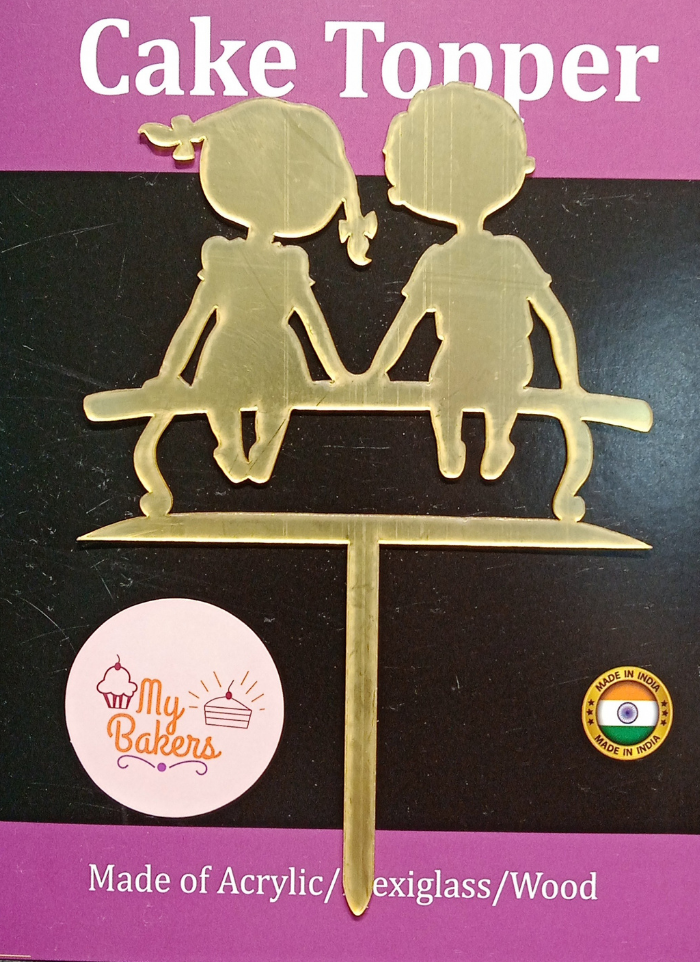 Girl And Boy On Bench Golden Acrylic Topper 6 inch Pack of 1