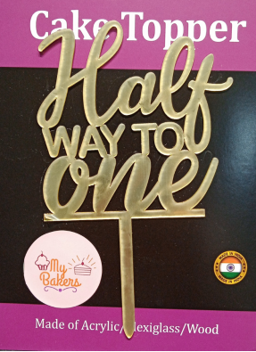 Half Way To One Golden Acrylic Topper 6 inch Pack of 1