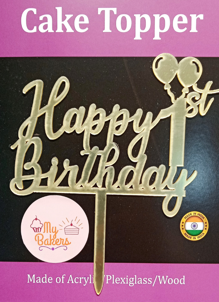 Happy 1st Birthday Golden Acrylic Topper 6 inch Pack of 1