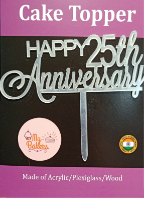 Happy 25th Anniversary Silver Acrylic Topper 6 inch Pack of 1