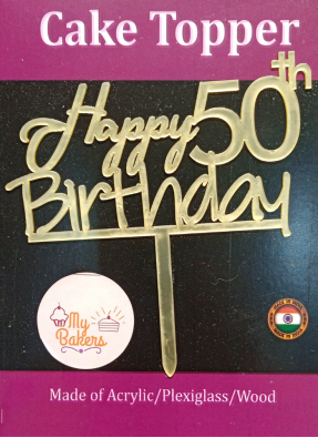 Happy 50th Birthday Golden Acrylic Topper 6 inch Pack of 1