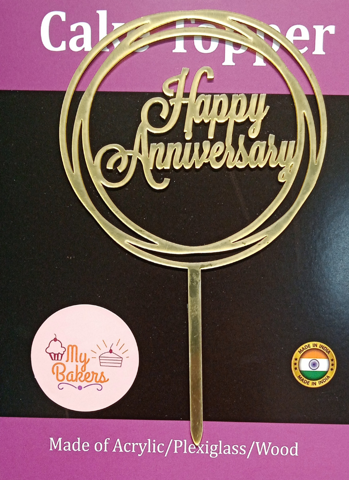 Happy Anniversary Circle Gold Mirror Acrylic Topper 6 inch Pack of 1