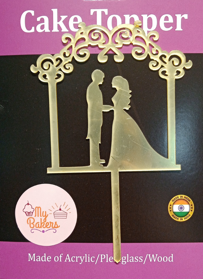 Happy Anniversary Couple Frame Gold Mirror Acrylic Topper 6 inch Pack of 1