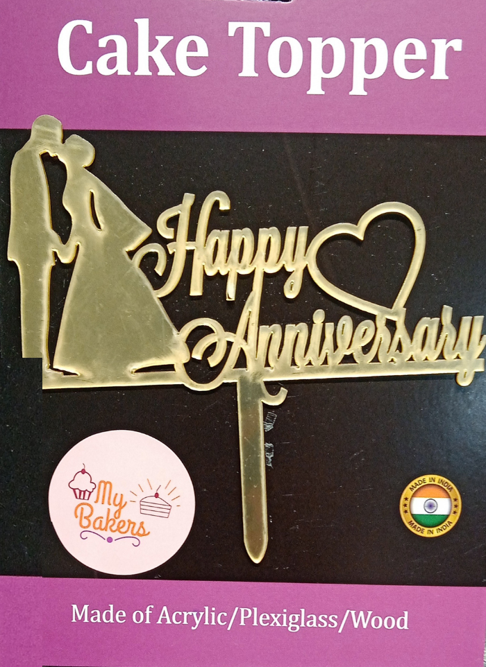 Happy Anniversary Couple Kissing Gold Mirror Acrylic Topper 6 inch Pack of 1