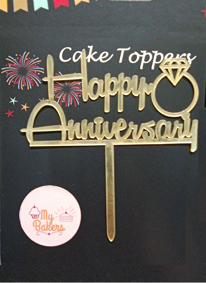 Happy Anniversary Ring Gold Mirror Acrylic Topper 5 inch Pack of 1