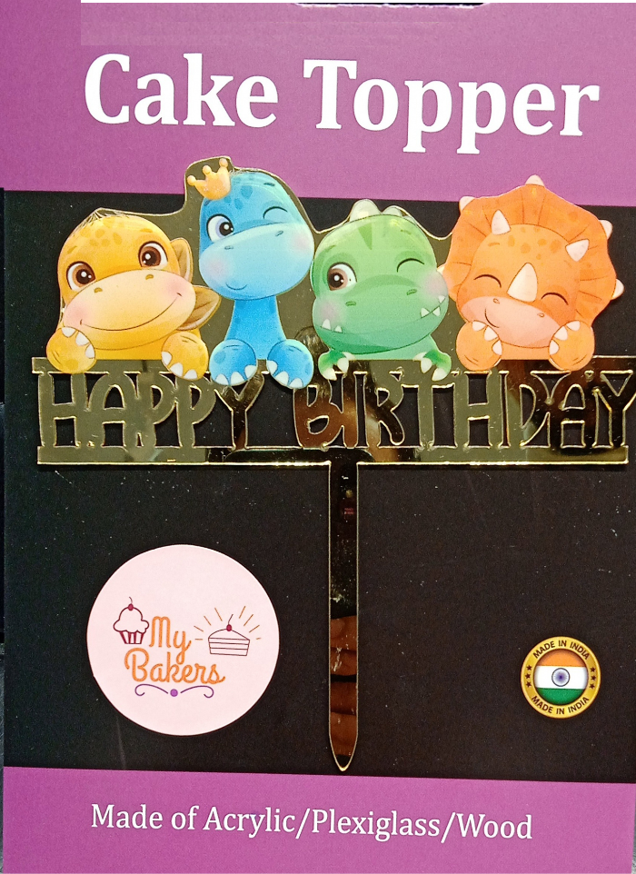 Happy Birthday Animals Golden Acrylic Topper 6 inch Pack of 1