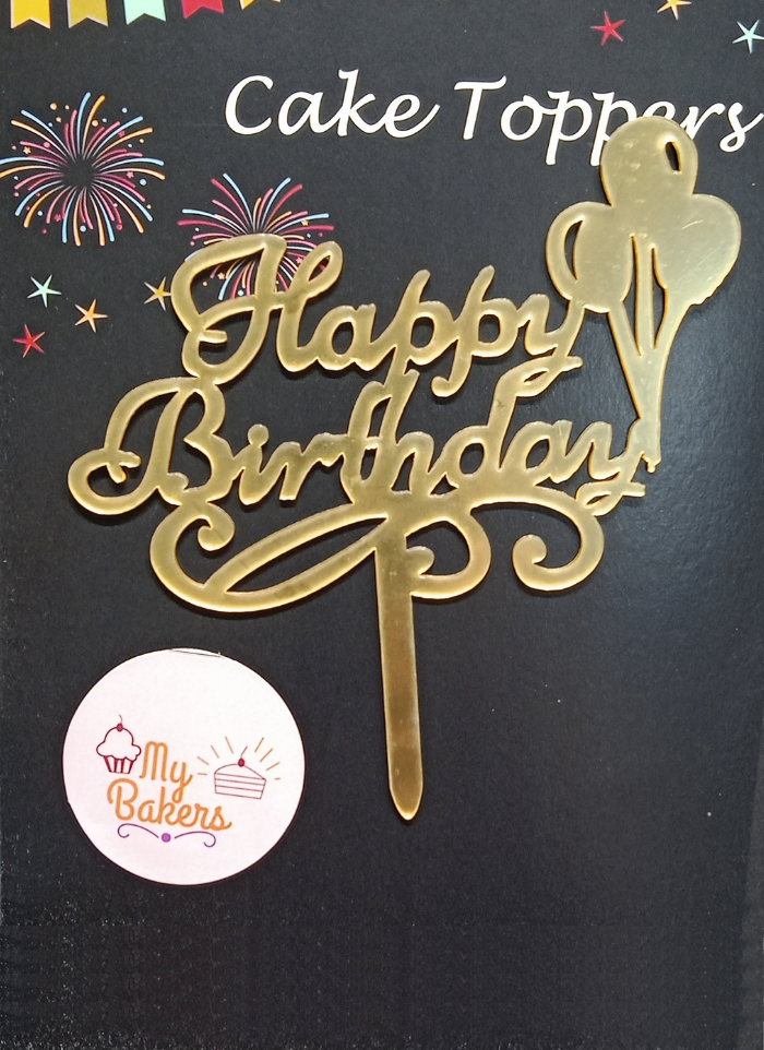 Happy Birthday Balloon Gold Mirror Acrylic Topper 5 inch Pack of 1