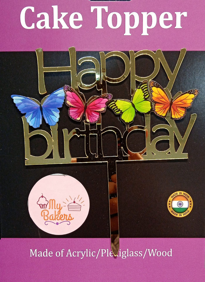Happy Birthday Butterfly Golden Acrylic Topper 6 inch Pack of 1